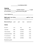 Student Led Conference Form for Primary Grades