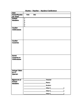 Student-Led Conference Form with Goal Setting