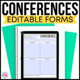 Virtual Parent Teacher Conference Forms Editable