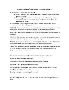 Student Led Conference Goal Setting Guidelines (Reading Focus)