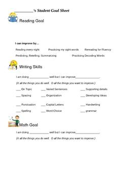 Student Led Conference Goal Sheet
