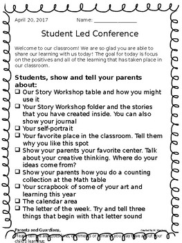 Student Led Conference Outline for Primary (editable)