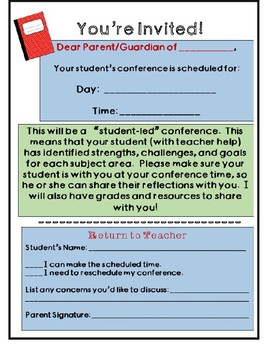student led conference planning template and invite by student led