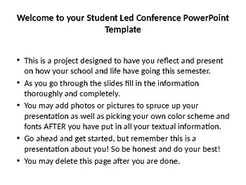 Student Led Conference Powerpoint