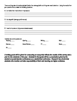 Student Led Conference Questionnaire and Essay
