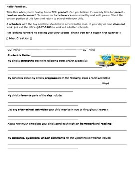 Student-Led Conference Questionnaire for Parents