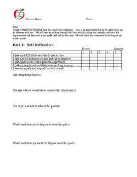Student-Led Conference Reflection Form