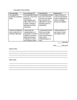 Student Led Conference Rubric (Good for all subjects)