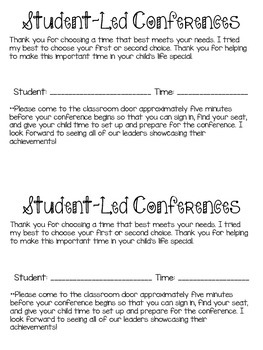 Student Led Conference Script *Editable