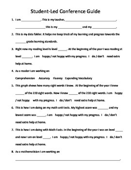Student Led Conference Script