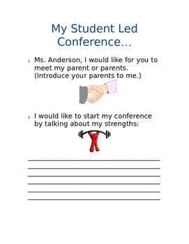 Student Led Conference Script & Worksheets | Teachers Pay ... on sports letter template, parent conference letter form, community service letter template, written warning letter template, mediation letter template, kindergarten letter template, reading letter template, writing letter template, restitution letter template, expulsion letter template, dismissal letter template, school letter template, parent invitation template, reprimand letter template, detention letter template, blank meeting minutes template, open house letter template,