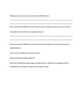 Student-Led Conference Script (Reading Focus)