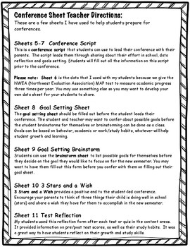 Student-Led Conference Sheets