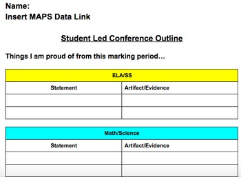 Student Led Conference Template