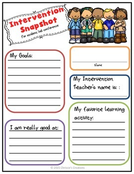 Student Led Conferences:  for Intervention Students