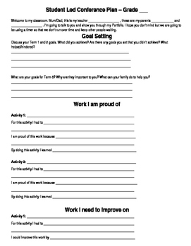 Student-Led Conference plan