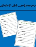 Student Led Conferences Goal Setting Sheet