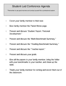 Student Led Conferences Packet