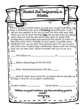 Student Led Conferences Planning Sheet