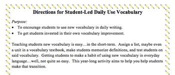 Student-Led Daily Vocabulary