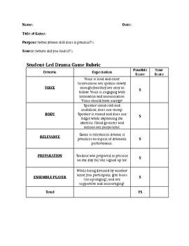 Student Led Drama Games