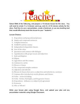 Student-Led Grammar Lesson