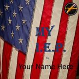 Student Led I.E.P.Meeting Editable Power Point/PDF: American Flag Theme