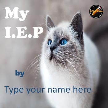 Student Led I.E.P. Meeting Editable Power Point/PDF: Cat Theme