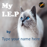 Student Led I.E.P. Meeting Editable Power Point/PDF: Cat Theme