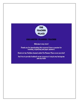First Day of School Student Led Information Sheet