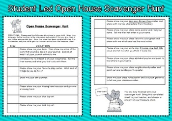 Student Led Open House Scavenger Hunt
