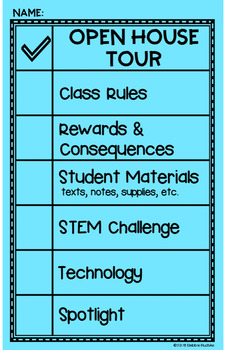 Student-Led Open House or Back to School Night - Editable