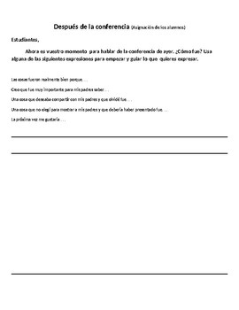 Student Led Parent Teacher Conference Forms - In Spanish