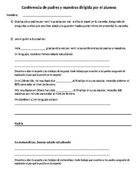 Student Led Parent Teacher Forms in Both Spanish and English