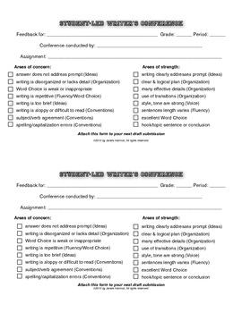 Student-Led Writer's Conference Form (half sheet)