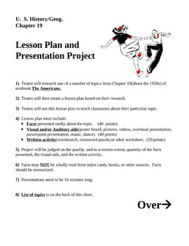 Student Lesson Plan & Presentation Project for the 1950s