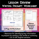 Student Lesson Review Worksheet
