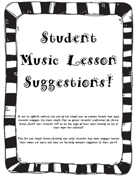 Student Lesson Suggestions