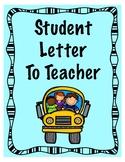 Student Letter To Teacher