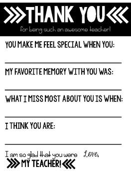 Student Letter to Teacher - Teacher Appreciation!