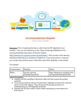 Self Advocacy Assignment-Accommodation Request Letter
