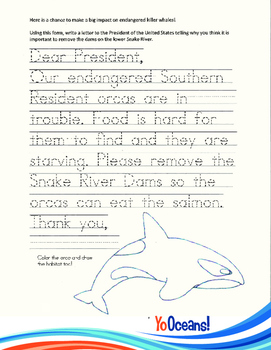 Student Letter to the President to Remove Lower Snake River Dams-Grades K-2