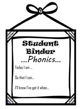 Student Literacy Binder Organization Black and White