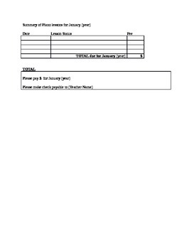 Student Log/ Invoice Template