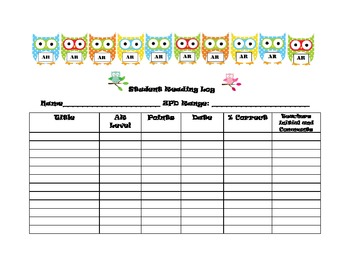 Student Log for Accelerated Reader