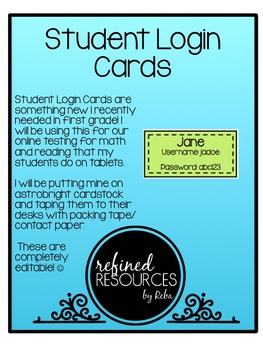 Student Login Cards