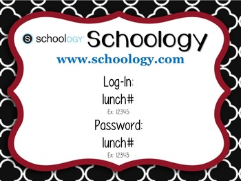 Student Log-in Username and Password Cards