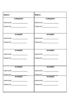 Student Login Cards