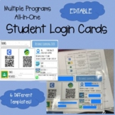 Student Login Cards (completely editable) Multiple Programs / Apps