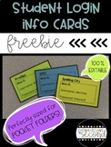 Student Login Information Cards - Grab and Go!